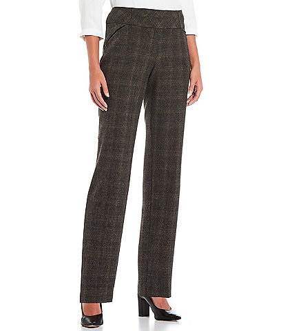 Investments Petite Size The PARK AVE Fit Straight Leg High Rise Pull-On Tweed Pants
