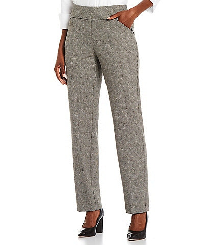 Investments Petite Size the PARK AVE fit Straight Leg Pull-On Glen Plaid Pants