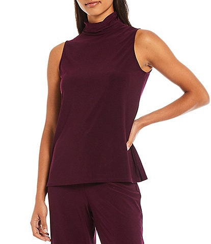 Investments Petite Size Soft Separates Sleeveless Mock Neck Top