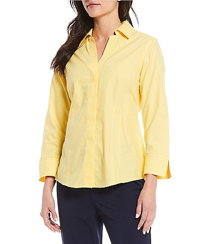 Investments Petite Size Taylor Gold Label Non-Iron Y-Neck 3/4 Sleeve Button Front Shirt