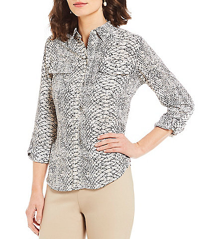 Investments Petite Olivia Point Long Sleeve Button Front Printed Utility Blouse