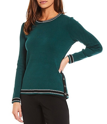Investments Petites Size Long Sleeve Side Button Crew Neck Striped Sweater