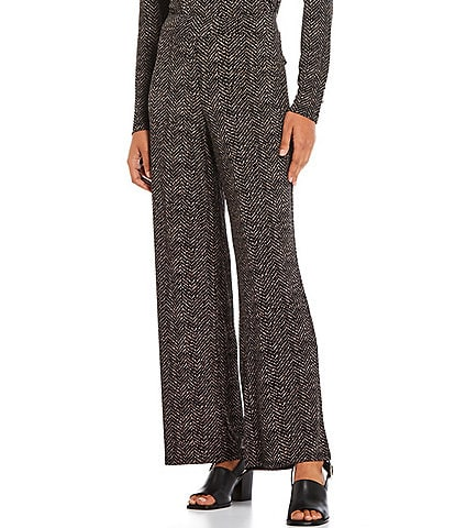 Investments Petite Size Soft Separates Pull-On Straight Leg Etched Herringbone Printed Pants