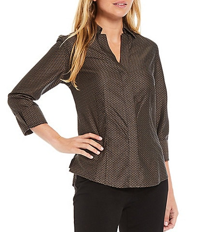 Investments Petite Size Taylor Gold Label Non-Iron Notch Point Collar 3/4 Sleeve Jacquard Button Front Shirt