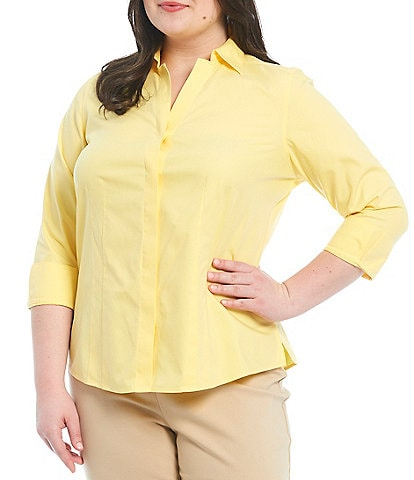 Investments Plus Size Taylor Gold Label Non-Iron Point Collar Y-Neck 3/4 Sleeve Button Front Shirt