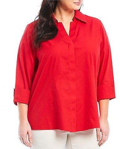 Investments Plus Size Taylor Gold Label Non-Iron Y-Neck 3/4 Sleeve Button Front Shirt