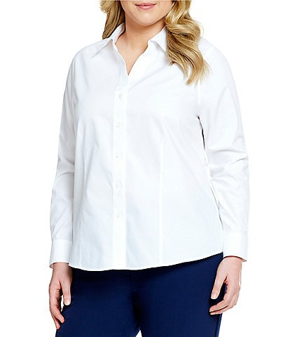 Investments Plus Size Christine Gold Label Non-Iron Long Sleeve Button Front Shirt