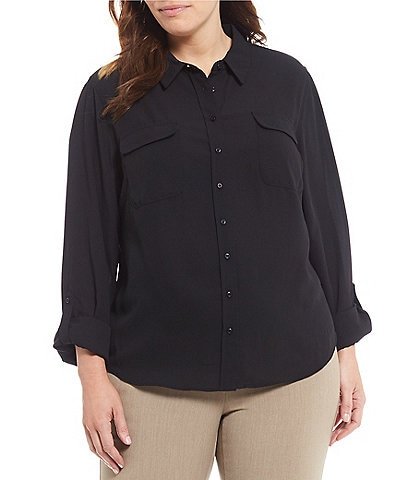 Investments Plus Size Olivia Long Sleeve Button Front Utility Blouse