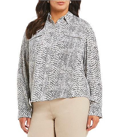 Investments Plus Size Olivia Long Sleeve Button Front Python Printed Utility Blouse