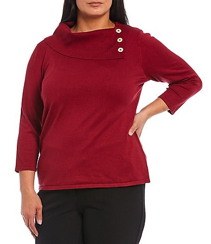 Investments Plus Size 3/4 Sleeve Buttoned Foldover Collar Sweater