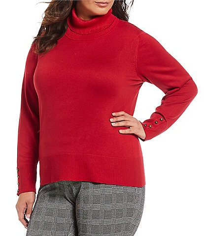 Investments Plus Size Button Sleeve Turtleneck Sweater