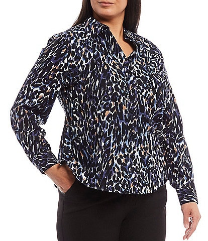 Investments Plus Size Christine Gold Label Non-Iron Long Sleeve Button Front Blue Cheetah Print Cotton Shirt