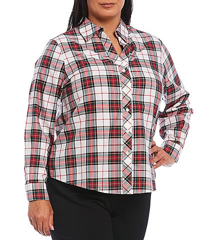 Investments Plus Size Christine Gold Label Non-Iron Long Sleeve Button Front Multi Plaid Print Shirt