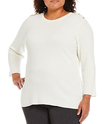 Investments Plus Size Jewel Neck Long Sleeve Ribbed Sweater