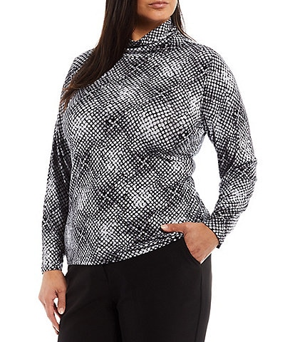 Investments Plus Size Essentials Long Sleeve Gradient Scales Turtleneck Top