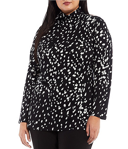 Investments Plus Size Essentials Long Sleeve Turtleneck Spot Fawn Print Top