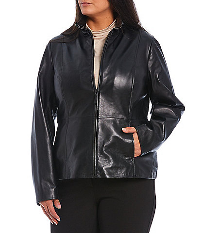 Investments Plus Size Genuine Leather Stand Collar Zip Front Jacket