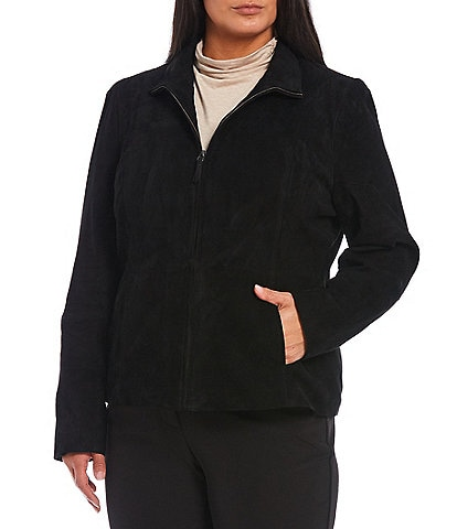 Investments Plus Size Genuine Suede Stand Collar Zip Front Jacket