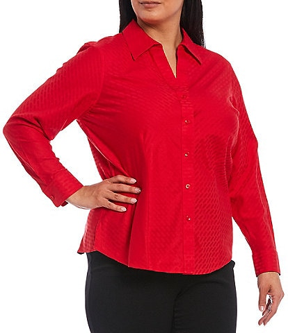 Investments Plus Size Christine Gold Label Non-Iron Long Sleeve Jacquard Button Front Shirt