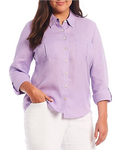 Investments Plus Size Hannah Gold Label Point Collar Neck Non-Iron Hemp Relaxed Long Sleeve Roll-Tab Shirt