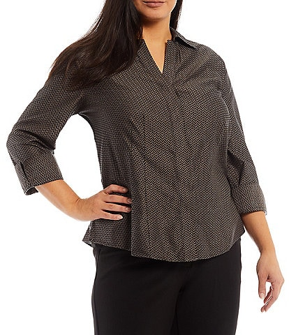 Investments Plus Size Gold Label Taylor Non-Iron Point Collar Y-Neck 3/4 Sleeve Jacquard Printed Button-Front Shirt
