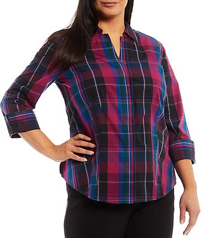 Investments Plus Size Gold Label Taylor Non-Iron Point Collar Y-Neck 3/4 Sleeve Plaid Button Front Shirt