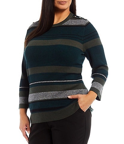 Investments Plus Size Jewel Neck Long Sleeve Stripe Ribbed Sweater