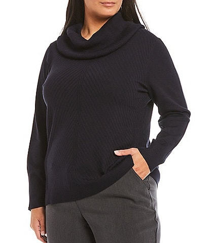 Investments Plus Size Long Sleeve Cowl Neck Sweater