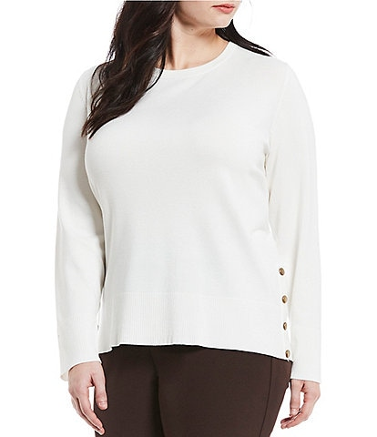 Investments Plus Size Long Sleeve Crew Neck Sweater