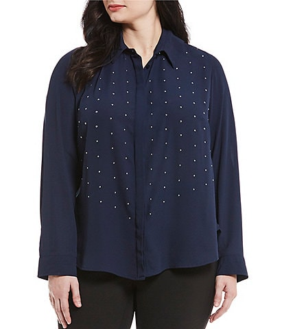 Investments Plus Size Long Sleeve Embellished Button Front Blouse