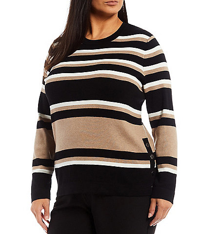 Investments Plus Size Long Sleeve Side Button Color Block Sweater
