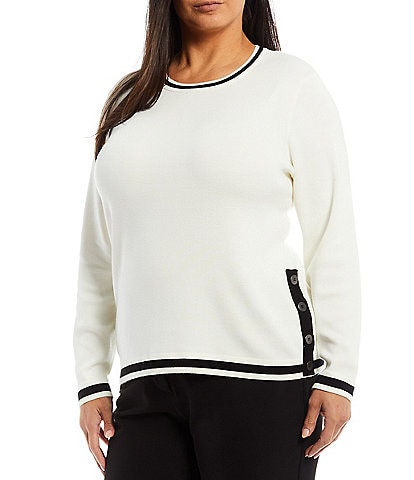 Investments Plus Size Long Sleeve Side Button Crew Neck Sweater