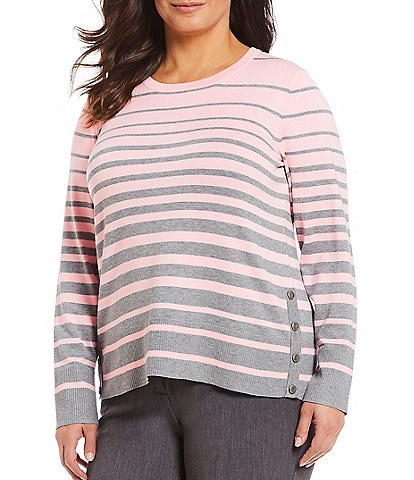 Investments Plus Size Long Sleeve Stripe Crew Neck Sweater