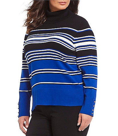 Investments Plus Size Long Sleeve Stripe Turtleneck Sweater