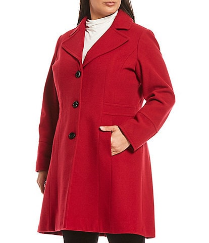 Investments Plus Size Notch Lapel Wool Blend Fit & Flare Coat