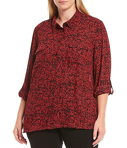 Investments Plus Size Olivia Long Roll-Tab Sleeve Button-Front Novelty Utility Blouse