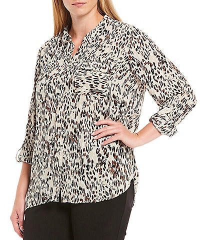 Investments Plus Size Olivia Long Sleeve Button Front Roll-Tab Leopard Print Utility Blouse