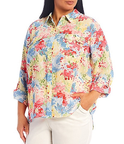 Investments Plus Size Olivia Long Sleeve Roll-Tab Button-Front Floral Print Utility Blouse