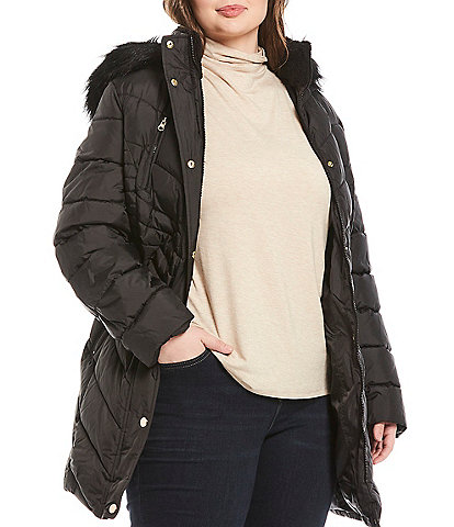 Preston & York Plus Size Removable Faux Fur Hood Quilted Coat