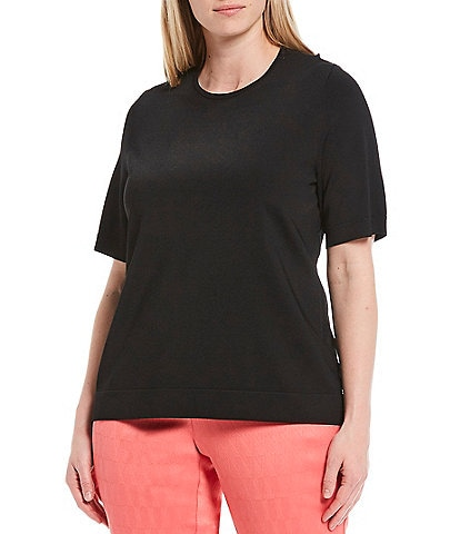 Investments Plus Size Signature Yarn Short Sleeve Crew Neck Top
