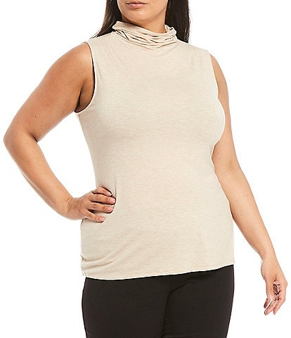 Investments Plus Size Sleeveless Mock Neck Heathered Top