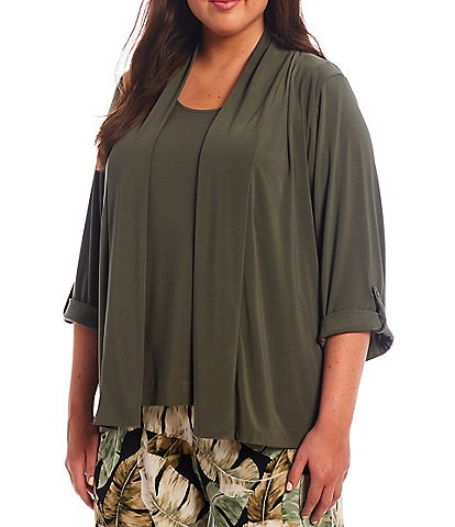 Investments Plus Size Soft Separates Long Sleeve Open-Front Jacket
