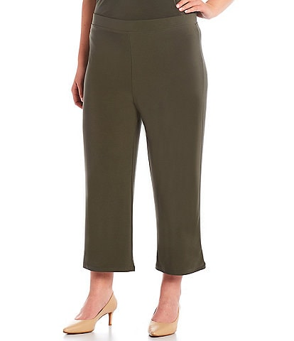 Investments Plus Size Soft Separates Pull-On Crop Pants