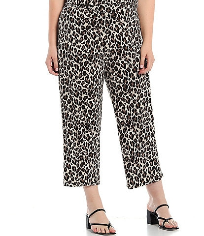 Investments Plus Size Soft Separates Pull-On Leopard Crop Pants