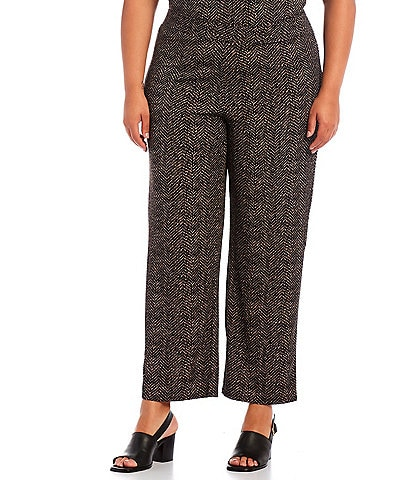 Investments Plus Size Soft Separates Pull-On Straight Leg Etched Herringbone Coordinating Pants
