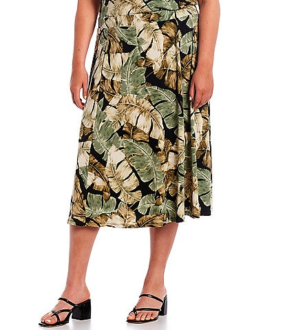 Investments Plus Size Soft Separates Pull-On Tropical Skirt