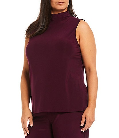 Investments Plus Size Soft Separates Sleeveless Mock Neck Top