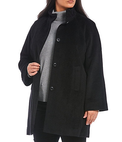 Investments Plus Size Stand Collar Wool Blend Button Front Balmacaan Coat