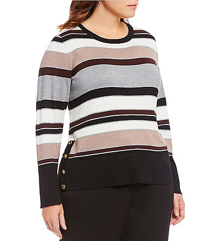 Investments Plus Size Striped Long Sleeve Crew Neck Sweater