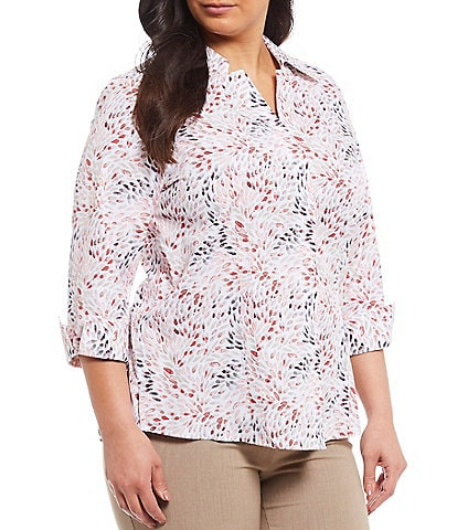 Investments Plus Size Taylor Gold Label Non-Iron 3/4 Sleeve Button Front Floral Print Shirt